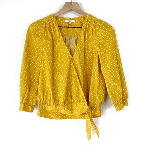 Madewell Wrap Top In Mustard Star Scatter Size XS
